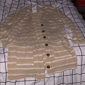 Striped long button down sweater